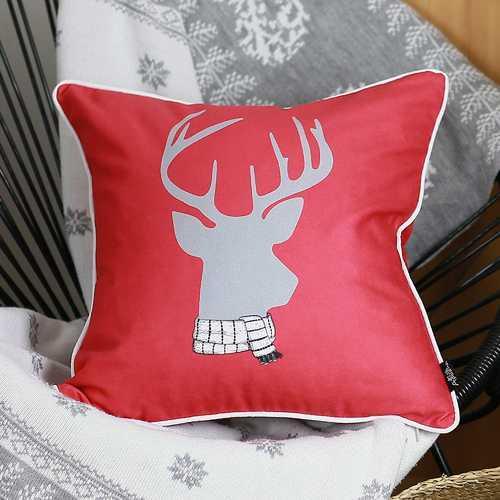 Christmas Deer Printed Decorative Throw Pillow Cover