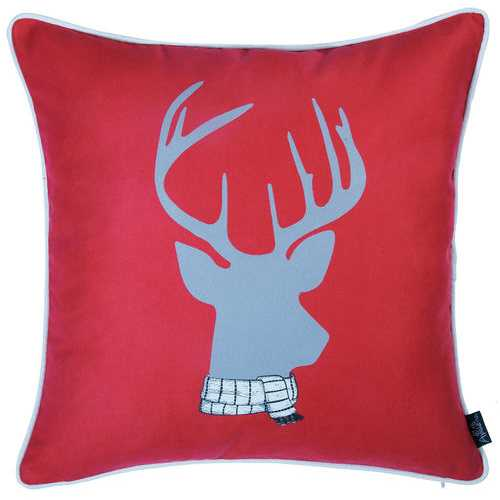 Christmas Deer Printed Decorative Throw Pillow Cover 3