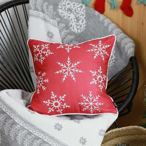 Red Snowflakes Christmas Decorative Throw Pillow Cover 1