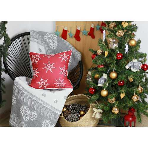 Red Snowflakes Christmas Decorative Throw Pillow Cover 2