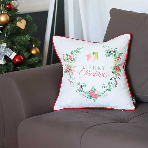 Christmas Flowers Printed Decorative Throw Pillow Cover 1