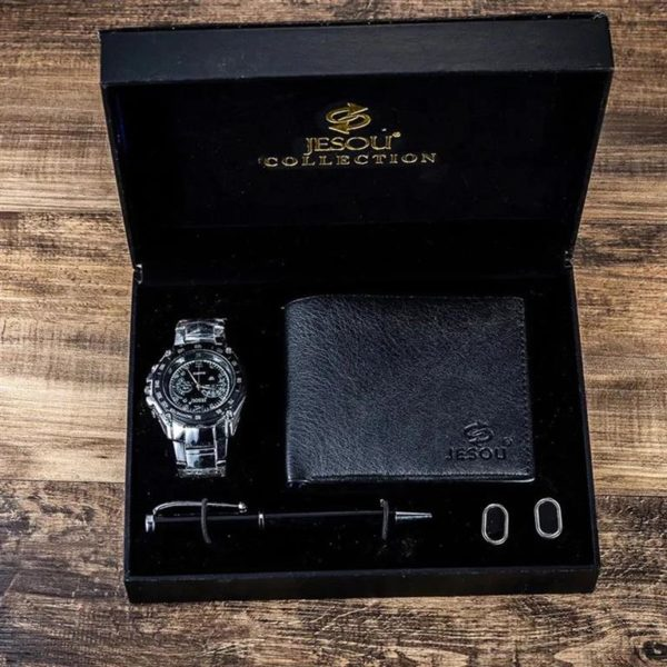 Mens Luxury Gift Set With Cufflinks, Pen, Wallet and Watch - 1