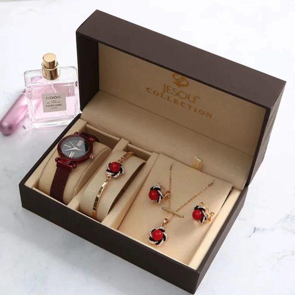 Women's Luxury Gift Set - Bracelet, Earrings, Necklace And Watch - 1