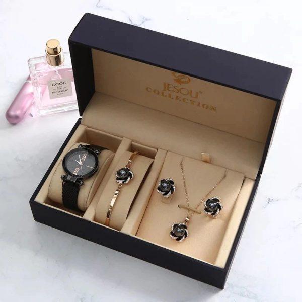 Women's Luxury Gift Set - Bracelet, Earrings, Necklace And Watch - Black