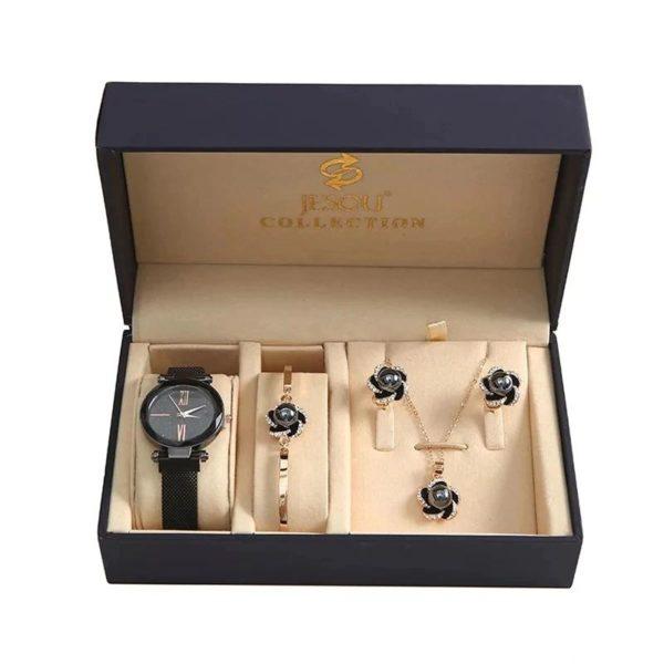 Women's Luxury Gift Set - Bracelet, Earrings, Necklace And Watch - Black - Box