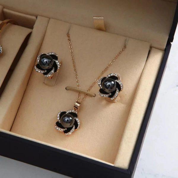 Women's Luxury Gift Set - Bracelet, Earrings, Necklace And Watch - Black - Earrings