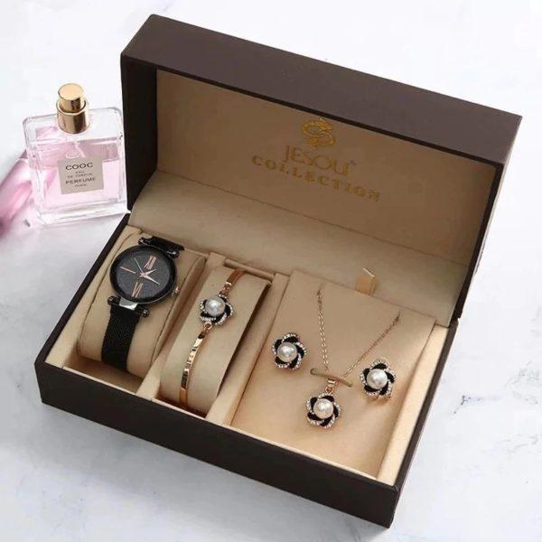 Women's Luxury Gift Set - Bracelet, Earrings, Necklace And Watch - White