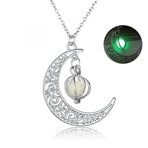 Crescent Moon Glowing Pendant