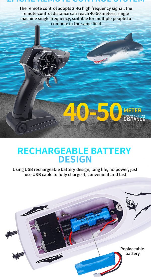Electric RC Shark Speed Boat 4
