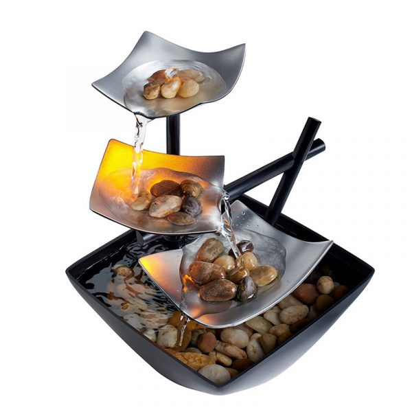 Tabletop Water Fountain - Metal Plates - Decor 1