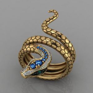 Snake Shape Micro Inlaid Royal Blue Zircon Ring