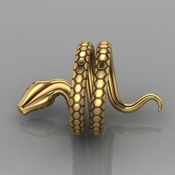 Snake Shape Micro Inlaid Royal Blue Zircon Ring 1