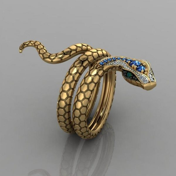 Snake Shape Micro Inlaid Royal Blue Zircon Ring 2