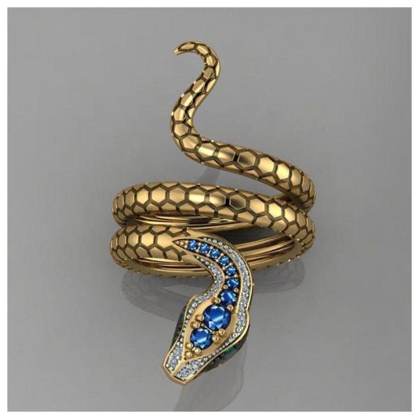 Snake Shape Micro Inlaid Royal Blue Zircon Ring 3