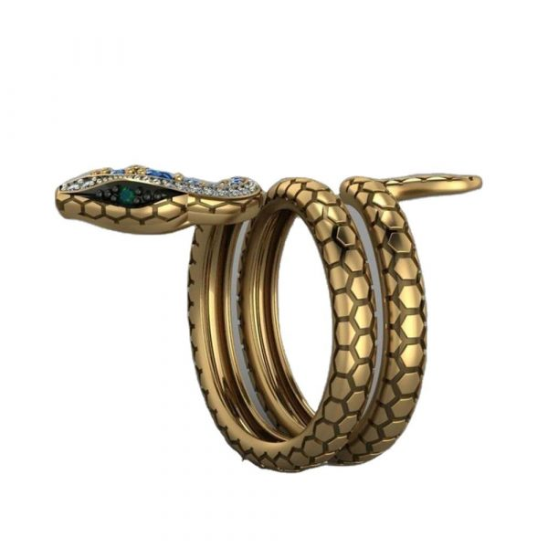 Snake Shape Micro Inlaid Royal Blue Zircon Ring 4