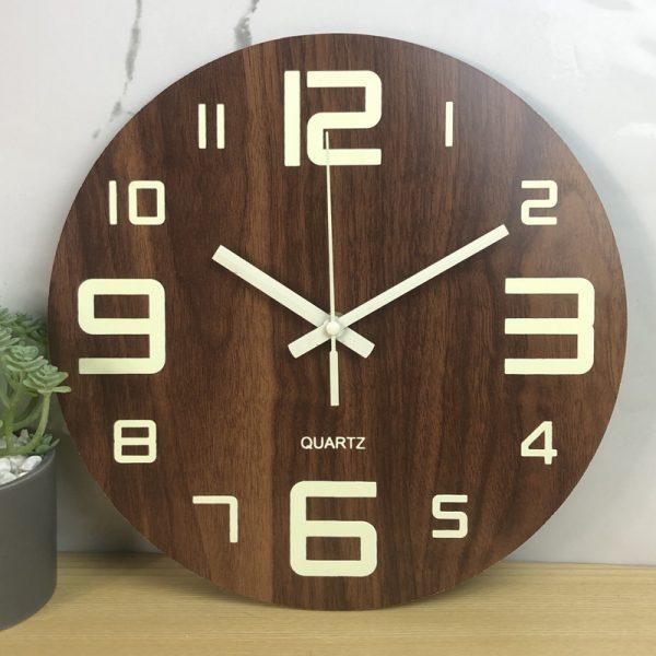 Glow In The Dark Wooden Wall Clock 9