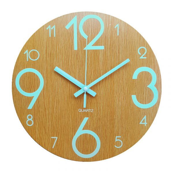 Glow In The Dark Wooden Wall Clock 4