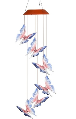 Solar Powered LED Butterfly Wind Chimes